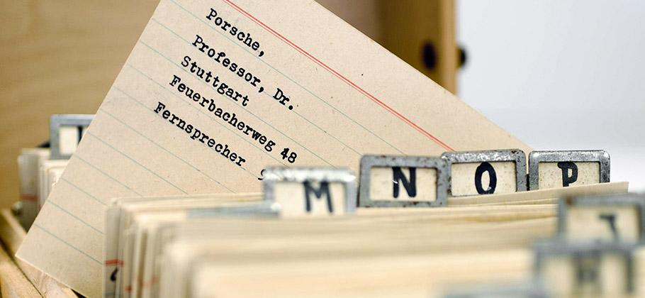 Professor Ferdinand Porsche's personal card index box.
