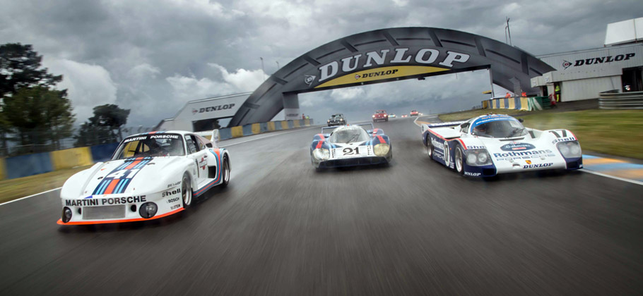 2012 Le Mans Classic. The 935 (left), 917 LH (centre) and 962 (right) at the Parade in Le Mans.