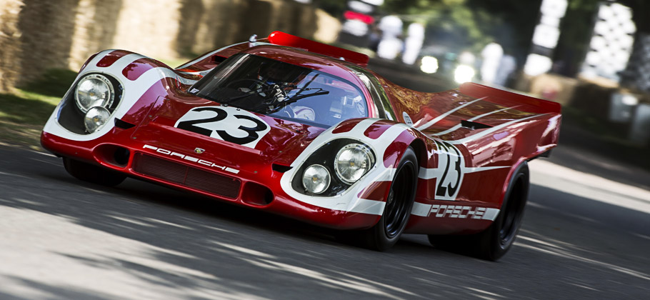 The Porsche 917 KH Coupé in action at the Goodwood Festival 2013.