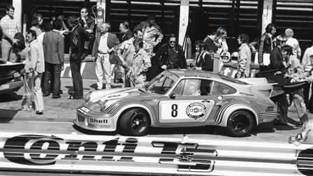 Porsche 911 Carrera RSR Turbo in the pit lane of the Nürburgring in 1974