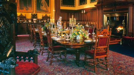 Dining room in Glamis Castle in Scotland