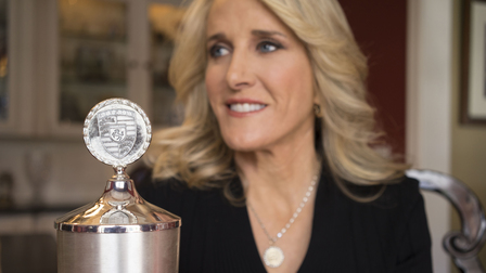 Tracy Austin and her winner's cup