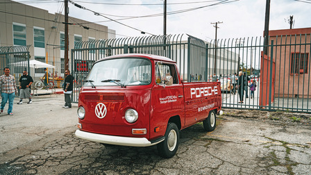 A Porsche service vehicle: Volkswagen Type 2 Transporter