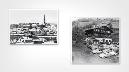 (l.) Steyr (1929), (r.) The Schüttgut of the Porsche family in Zell am See