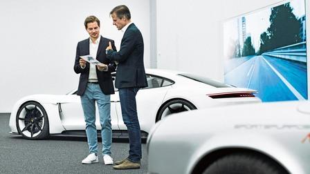Porsche Ivo van Hulten, head of interior design and Micheal Mauer, head of design (r.)