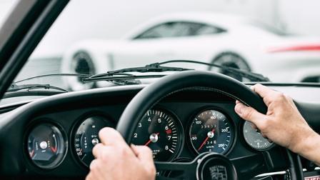 Round instruments an steering wheel of a 1973 Porsche 911 T