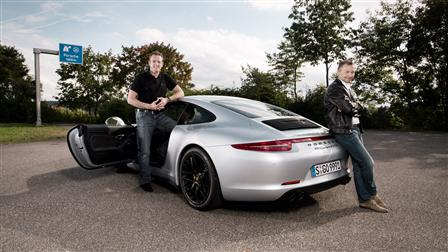 August Achleitner,head of 911 model line (right), and Thomas Krickelberg, powertrain project manager of 911