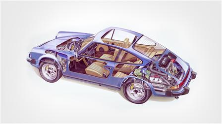 Porsche 1979 (Mj.), 911 SC 3.0 Coupé le dessin fantôme