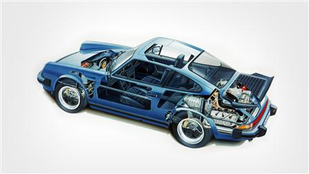 Porsche 1989, 911 Carrera le dessin fantôme