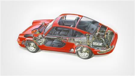 Porsche 1991, 911 Carrera 4 3.6 Coupé le dessin fantôme