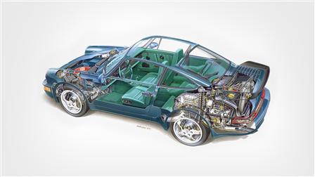 Porsche 1992, 964 Turbo 3.3 le dessin fantôme