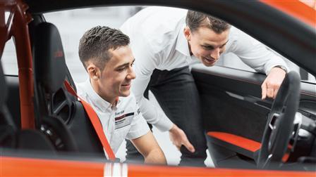 Race-Car Drivers Sven Müller (left), Earl Bamber