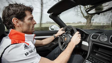 Porsche Factory-Driver Mark Webber in the Boxster Spyder