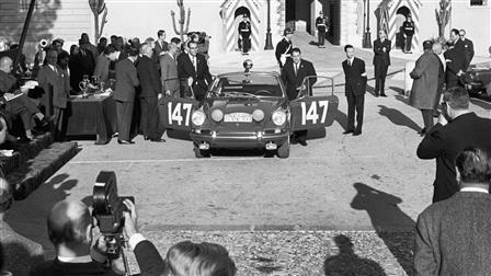 Porsche Monte-Carlo 911, victory ceremony 1965 in Monaco