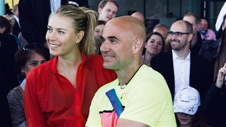 Porsche Tennis superstar Maria Sharapova (left) and Andre Agassi