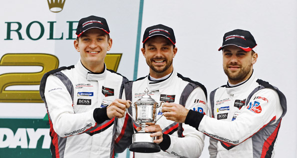 Porsche GT Team: Jaminet, Bamber, Vanthoor (l-r)